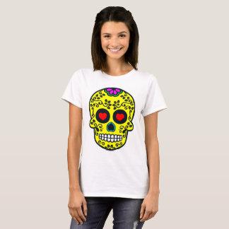 o t-shirt básico das mulheres mexicanas do crânio camiseta
