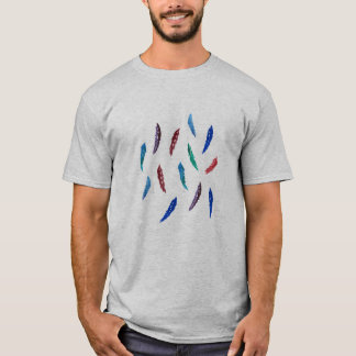 O t-shirt básico dos homens com penas camiseta