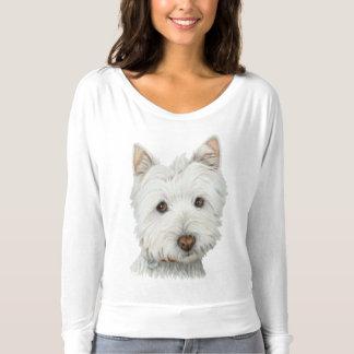 O t-shirt bonito da mulher da arte do cão de camiseta