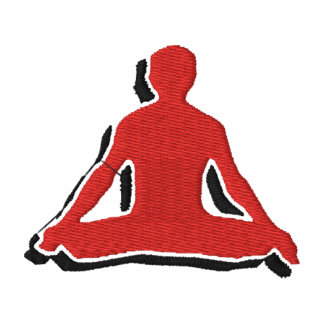 O t-shirt bordado ioga dos homens