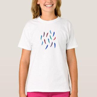 O t-shirt clássico das meninas com penas camiseta