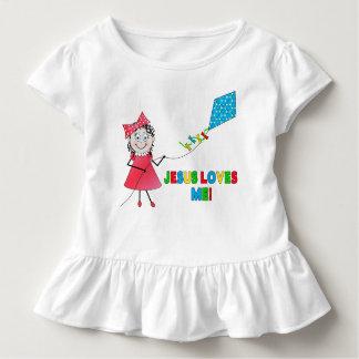 O T-SHIRT da MENINA da CRIANÇA - JESUS AMA a Camiseta Infantil