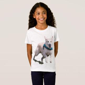 O t-shirt da menina da imagem do cão camiseta