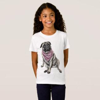 O t-shirt da menina do tema do cão do Pug Camiseta