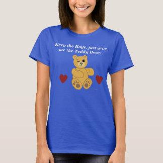 O t-shirt da mulher dos ursos e dos corações de camiseta