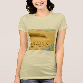 O t-shirt das mulheres: Arte abstrata do deserto