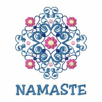 O t-shirt das mulheres bordadas Namaste da ioga