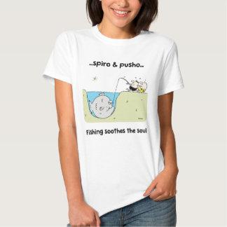 O t-shirt das mulheres da pesca de Spiro & de