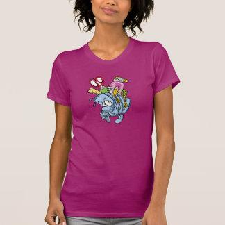 O t-shirt das mulheres das fontes de escola