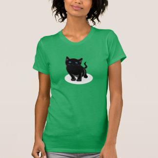 O t-shirt das mulheres do gato preto