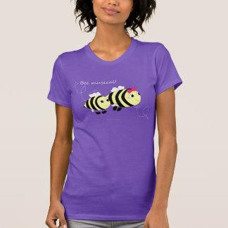 O t-shirt das mulheres roxas musicais da abelha do