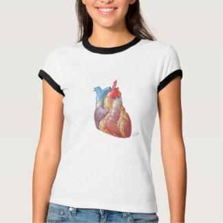 O t-shirt de Ladie do coração do Netter Camiseta