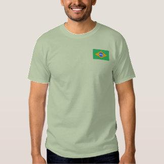 O t-shirt dos homens bordados bandeira de Brasil