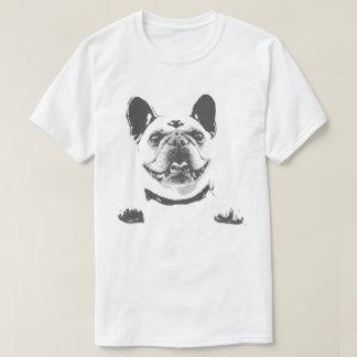 O t-shirt dos homens preto e branco do buldogue camiseta