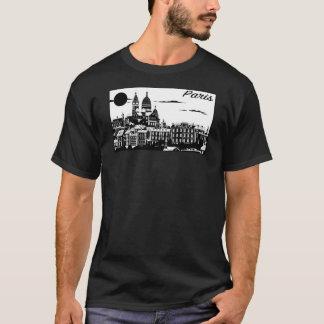 O t-shirt escuro básico dos homens de Paris Camiseta
