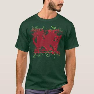 O t-shirt escuro dos homens vermelhos do dragão de camiseta