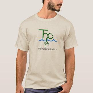 O t-shirt feliz da areia do logotipo de camiseta