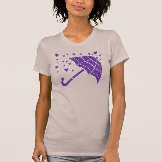 O t-shirt malva das mulheres roxas dos corações do