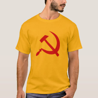 O t-shirt (vermelho) dos homens do martelo e da camiseta