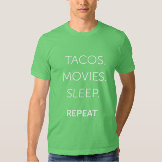 O Tacos dos homens, filmes, camisa do sono Camiseta
