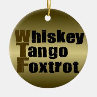 O tango do uísque Foxtrot Ornamento De Cerâmica Redondo