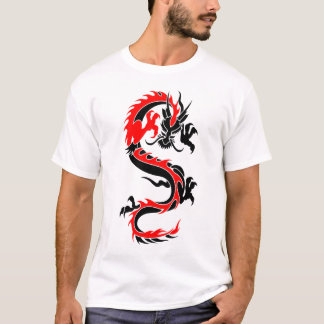 O tatuagem vermelho tribal legal do dragão projeta camiseta