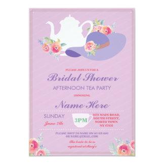 O tea party de Bachelorette do chapéu de chá de Convite 12.7 X 17.78cm