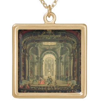 O Teatro Reale em Turin (óleo em canvas) Bijuteria Personalizada