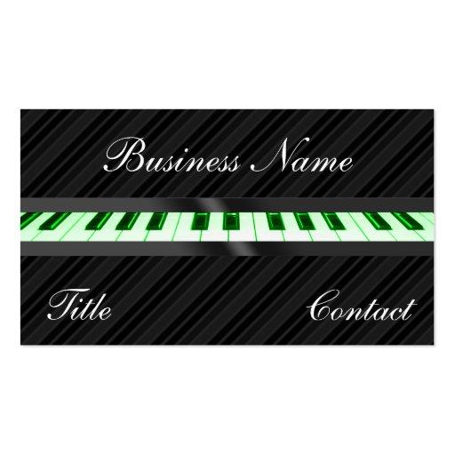 O teclado de piano listra cartões de visitas