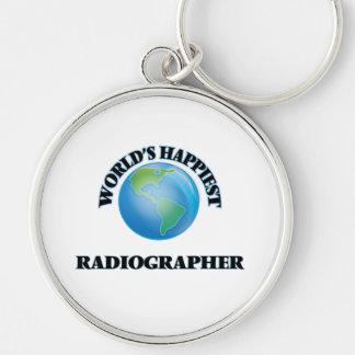 O técnico de radiologia o mais feliz do mundo chaveiro redondo na cor prata
