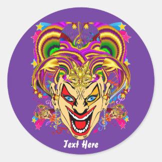 O tema do partido do carnaval vê por favor notas adesivo redondo