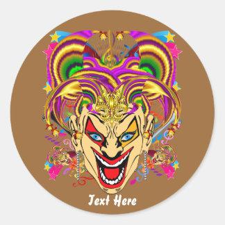 O tema do partido do carnaval vê por favor notas adesivos em formato redondos