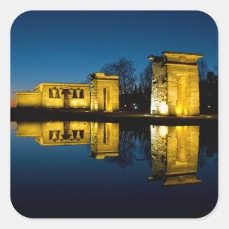 O templo de Debod na espanha de Madrid Adesivo Quadrado
