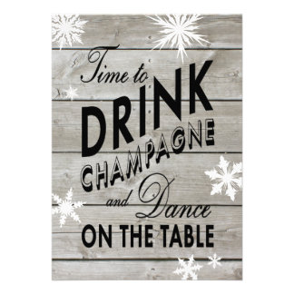 O tempo de ano novo beber Champagne convida Convites Personalizados