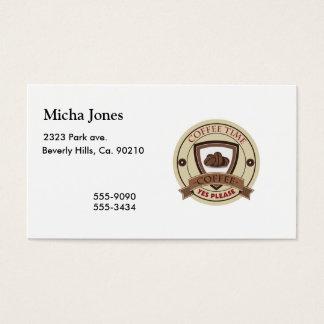 O tempo do café satisfaz sim o logotipo cartão de visitas