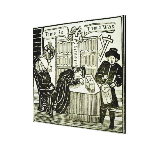 """O """"tempo é, tempo era"""", cópia de uma ilustração de impressão de canvas esticada"""