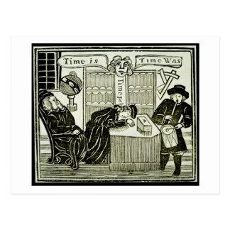 """O """"tempo é, tempo era"""", cópia de uma ilustração de cartão postal"""