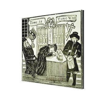 """O """"tempo é, tempo era"""", cópia de uma ilustração de impressão em tela"""