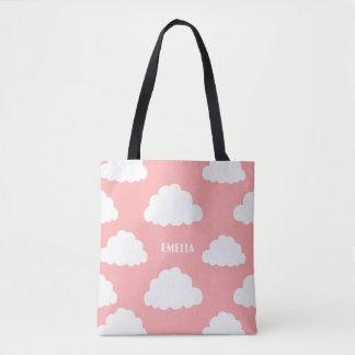 O teste padrão branco das nuvens personalizado bolsa tote