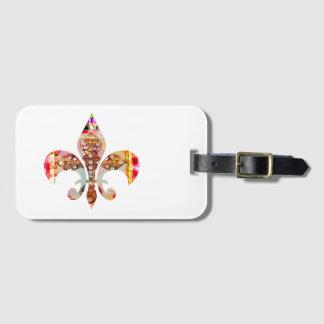 O teste padrão da jóia da flor de lis floresce o etiqueta de bagagem