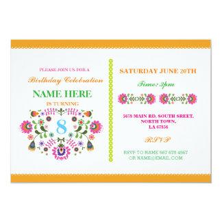 O teste padrão floral de México das meninas do Convite 12.7 X 17.78cm
