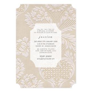 O teste padrão floral francês do papel de parede convite 12.7 x 17.78cm