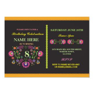 O teste padrão floral mexicano do aniversário da convite 12.7 x 17.78cm