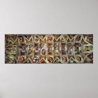 O teto do poster da capela de Sistine