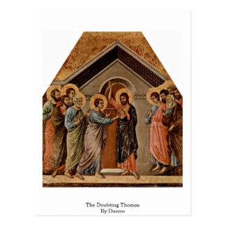 O Thomas de dúvida por Duccio Cartão Postal