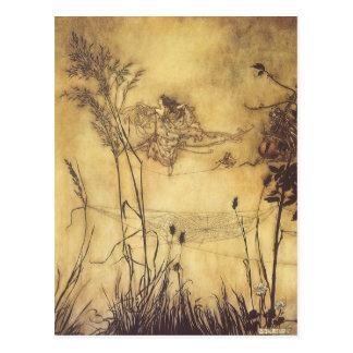 O Tightrope da fada por Arthur Rackham, arte do Cartao Postal
