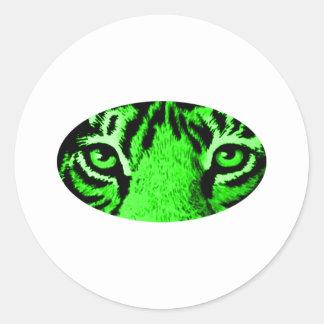 O tigre verde Eyes os presentes de Zazzle do MUSEU Adesivos Redondos