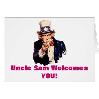 O tio Sam dá-lhe boas-vindas cartão