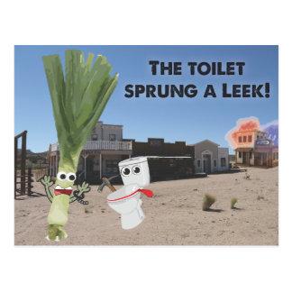 O toalete saltado um alho-porro! cartão postal