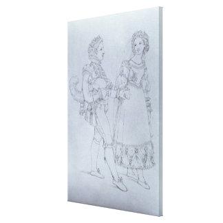 O traje projeta Figaro e Susanna da ópera Impressão De Canvas Envolvidas
